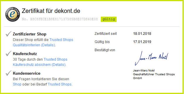 Trusted-Shops Zertifikat für dekont.de